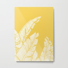 Banana Leaves on Yellow #society6 #decor #buyart Metal Print