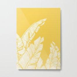 Banana Leaves on Yellow #society6 #decor #buyart Metal Print