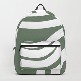 🤍, Abstract Art, Prints Green and White, Stripes, Geometric Art Backpack