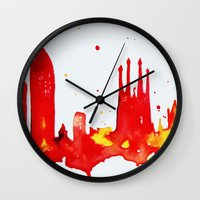 barcelona Wall Clocks featuring Barcelona by Talula Christian