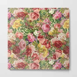 Vintage Retro flower pattern old fashioned Metal Print