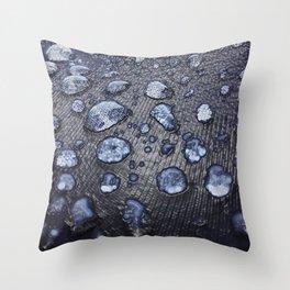 RAIN DROPS (BLUE) Throw Pillow