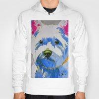 westie Hoodies featuring Westie Pop Art Dog Art Portrait  by Karren Garces Pet Art