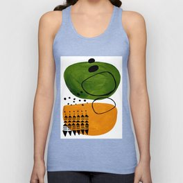 Modern Mid Century Fun Colorful Abstract Minimalist Painting Olive Green Yellow Ochre Buns Unisex Tank Top