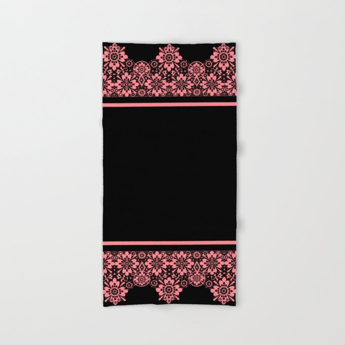 retro vintage pink lace on a black background hand bath towel by fuzzyfox85 society6 society6