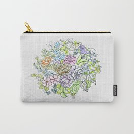arrangement of flowers in pastel shades on a white background . illustration Carry-All Pouch