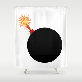 Old Black Cartoon style Bomb With Lit Fuse Shower Curtain