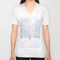 central park V-neck T-shirts featuring Central Park  by Vivienne Gucwa