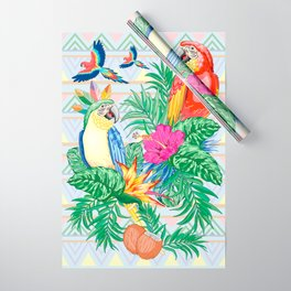 Macaws Parrots Exotic Birds on Tropical Flowers and Leaves Wrapping Paper