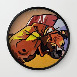 Whimsical Boxer Dog Illustration Wall Clock