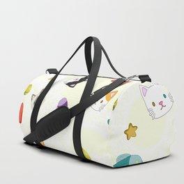 Cat Pattern Cream Duffle Bag