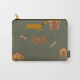Seamless Dog Pattern with trail and doghouses Carry-All Pouch