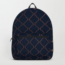 Navy blue and copper seamless pattern Backpack