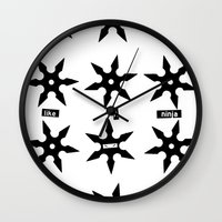 ninja Wall Clocks featuring ninja by ḋαɾќṡhαḋøώ .