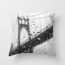 Rainy Bridge Throw Pillow