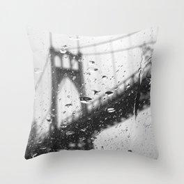 Rainy Bridge Throw Pillow