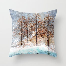 Snow Flurries on Moon Lake up Dewdrop Holler Throw Pillow
