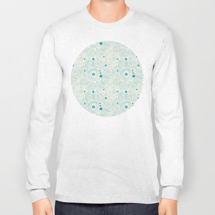 Blue Scribbles Pattern 04 Long Sleeve T-shirt