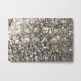 Silver Metallic Glitter sequins Metal Print