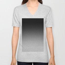 Black to Gray Horizontal Linear Gradient Unisex V-Neck