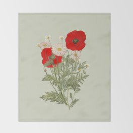 A country garden flower bouquet -poppies and daisies Throw Blanket