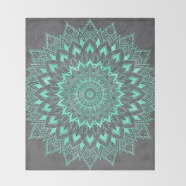 Boho turquoise watercolor floral mandala on grey cement concrete Throw Blanket