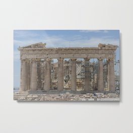 Modern and Ancient - Parthenon at Acropolis of Athens Under Construction Metal Print
