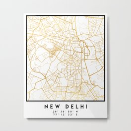 NEW DELHI INDIA CITY STREET MAP ART Metal Print