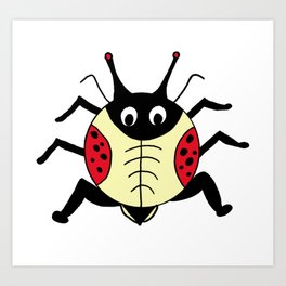 childishly drawn beetle Art Print