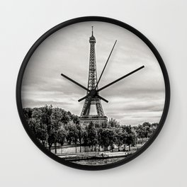 Eiffel Tower and boats on Seine river in Paris, France Wall Clock