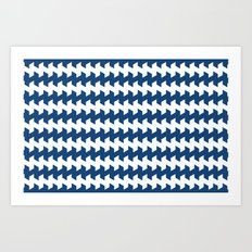 jaggered and staggered in monaco blue Art Print
