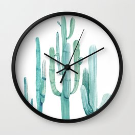 Cacti Fam Turquoise Wall Clock