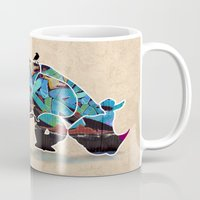 rhino Mugs featuring Rhino by mark ashkenazi