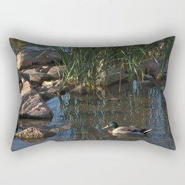 The Duck Between The Reeds And Rocks Rectangular Pillow