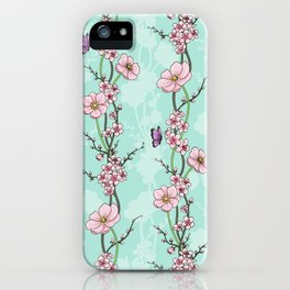 Japanese Garden - cherry blossom and anemones iPhone Case