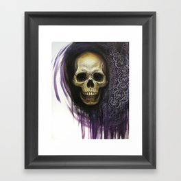 Skull and lace Framed Art Print