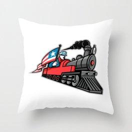 American Steam Locomotive Mascot Throw Pillow