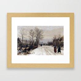 Peter Christian Skovgaard 1817-1875 Copenhague Winter landscape. A country wedding. Framed Art Print