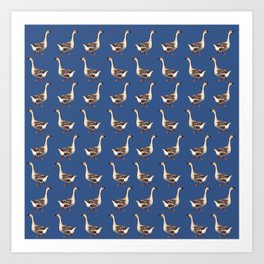 Loosie Goosie in Blue Art Print