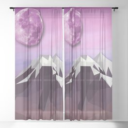 Night Mountains No. 18 Sheer Curtain