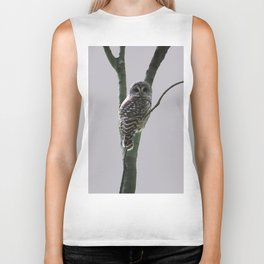 Barred Owl with Grey Biker Tank