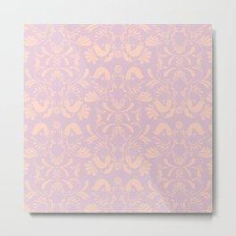 Lovebird Damask Pattern Metal Print