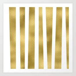 Gold unequal stripes on clear white - vertical pattern Art Print
