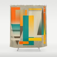 metropolis Shower Curtains featuring METROPOLIS | orange by Cheryl Daniels