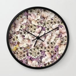 Cream Colored Flowers with Muted Plumb Wall Clock