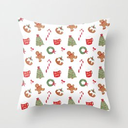Christmas Holiday Pattern Throw Pillow