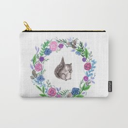 Squirrel and Wreath Watercolor Carry-All Pouch