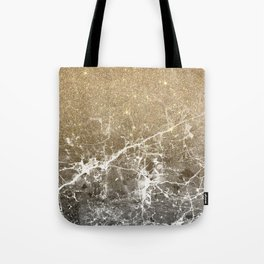 Vintage black white gold glitter marble Tote Bag