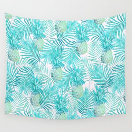 Turquoise Palm Leaves and Pineapples on Pink Wall Tapestry