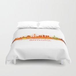 Barcelona City Skyline Hq _v3 Duvet Cover